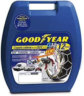 Goodyear 77934, 12 mm högkvalitativa passagerarbil snökedjor, TUV och ONORM godkända, storlek 240. Lämplig för SUV, skåpbi...