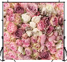 Sensfun 8x8FT Rose Floral Wedding Decorations Photo Booth Backdrop Flowers Wall Birthday Photography Background Pink Floral Bridal Shower Bachelorette Party Banner Studio Video Props
