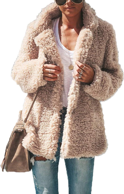 Womens Fuzzy Jackets Coats Winter Open Front Cardigan Coat Faux Fur Outwears