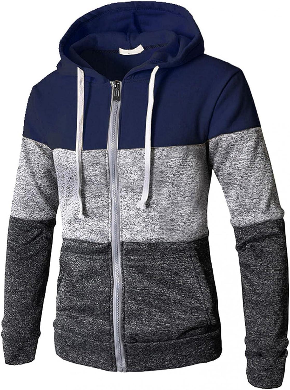 Huangse Men's Hoodies Full Zipper Color Block Long Sleeve Hooded Sweatshirts Casual Workout Sport Sweaters Tee Shirts Tops