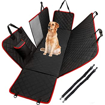 Dog Hammock for Car Back seat with Mesh Visual Window, Side Flaps with Zipper, Padded 4 Layers Waterproof Heavy Duty Dog Hammock with Storage Bag, Scratch Proof Nonslip Pet Car Seat Cover