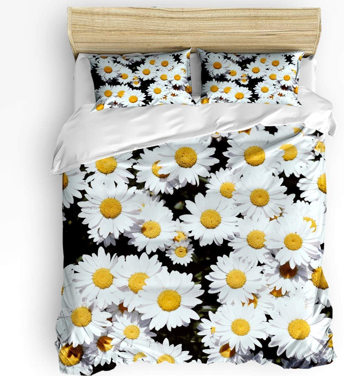USOPHIA 3pc King Duvet Cover Set 贈物 Daisy Yellow White Daisies Flo お求めやすく価格改定