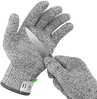 Ultra Durable Cut Resistant Gloves, for Ktichen Cooking, Oyster Shucking, Fish Fillet Processing, Mandolin Slicing, Meat Cutting, Wood Carving Level 5 Protection, Food Grade (Large)