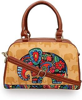 ALL THINGS SUNDAR Handtaschen für Damen und Mädchen mit abnehmbarem und verstellbarem Schulterriemen, ethnisches Kunstwerk