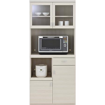 フナモコ 国産 完成品 食器棚 スマートキッチン 幅79.2×奥44.5×高180cm ホワイトウッド SKS-81R オープンボード80cm
