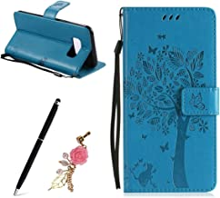 Meeter Samsung Case  Samsung Galaxy Wallet Case  Leather Blossom Tree Embossing Pattern  Magnetic Adsorption  Folio Inner Soft TPU Case with  Card Slots  Stand Flip Wall