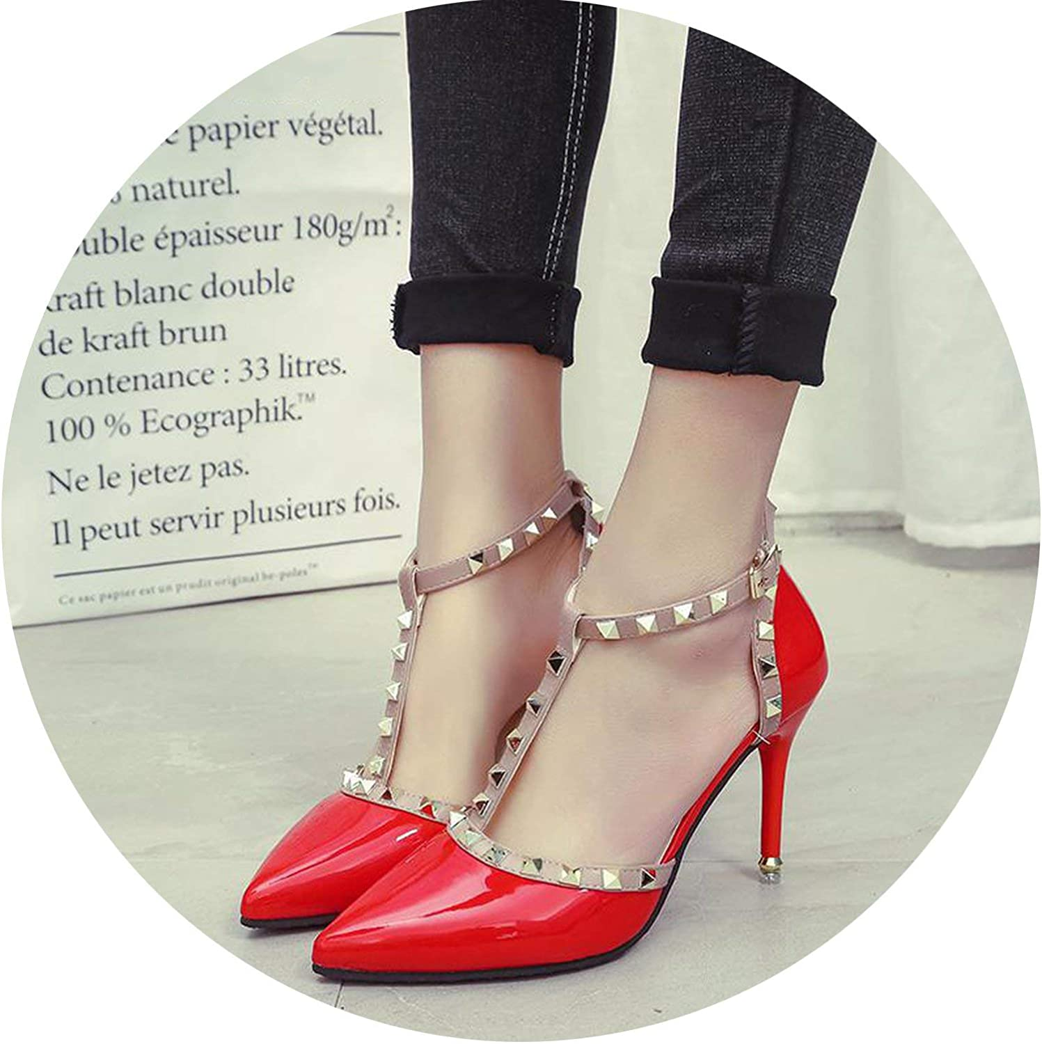 HANBINGPO New Women Pumps Summer Fashion Sexy Rivets Pointed Toe Wedding Party High Heeled shoes Woman Sandals shoes women,Red,4.5