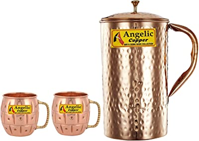 Angelic Copper Handmade Copper Jug with Designer Cup Set, Set of 2, Brown
