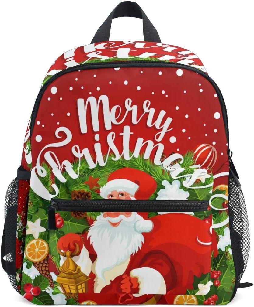 OREZI Toddler Backpack Brand new Christmas Santa And New item Xmas Holly Tree Berry