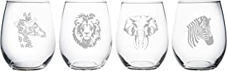 African animal stemless wine glass (set of 4)