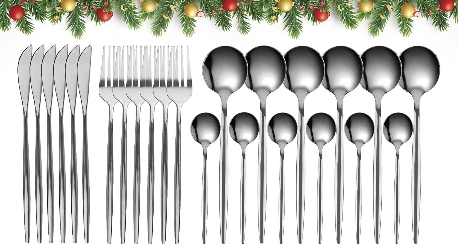 GUANGE Juego de cubiertos de 24 piezas, juegos de cubiertos de acero inoxidable, juego de cucharas y tenedores, servicio para 6, cubiertos con espejo, tenedores y cucharas, cubiertos, plateado