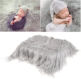 FENICAL OULII Baby Photo Props Newborn DIY Photography Soft Fur Quilt Photographic Mat (Light Grey)