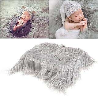 OULII Foto de bebé accesorios piel suave edredón tapete fotográfico bebé DIY fotografía foto abrigo de bebé accesorios favores (gris claro)