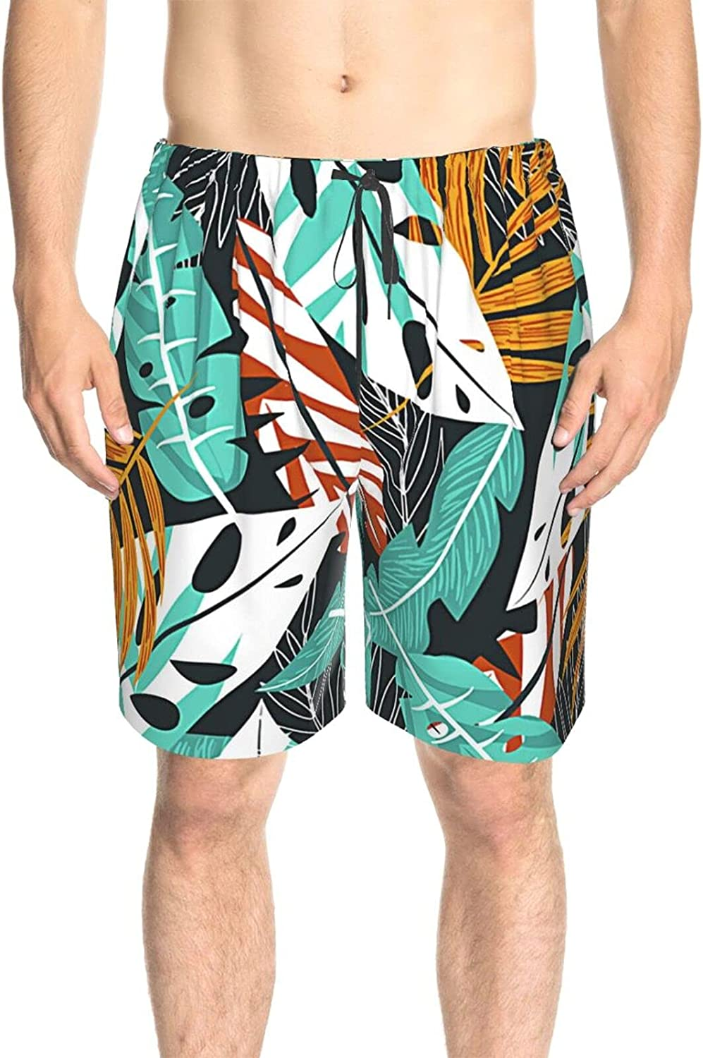JINJUELS Mens Bathing Suits Summer Leaves Bathing Suit Boardshorts Fast Dry Fashion Surf Beach Shorts with Lining