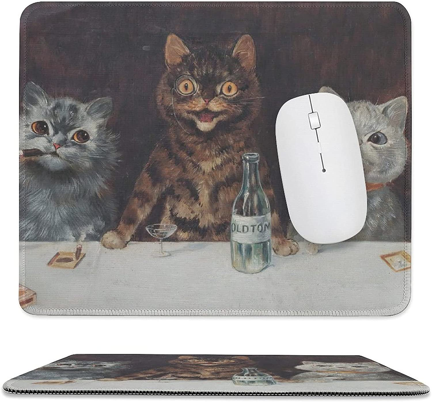 unisex Game Mouse Pad with Stitched Max 83% OFF Edge and Cats Funny Smoking Cartoon