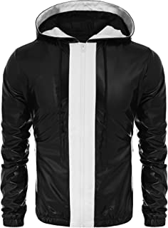 Mens Casual Zip Up Hoodie Jacket Shiny Metallic Bomber Nightclub Party Baseball Coat
