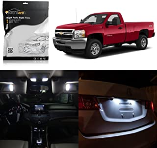Partsam LED Interior Lights Light Package Kit Interior Bulbs fit Replacement for Chevrolet Silverado 2007-2013 -12Pcs White