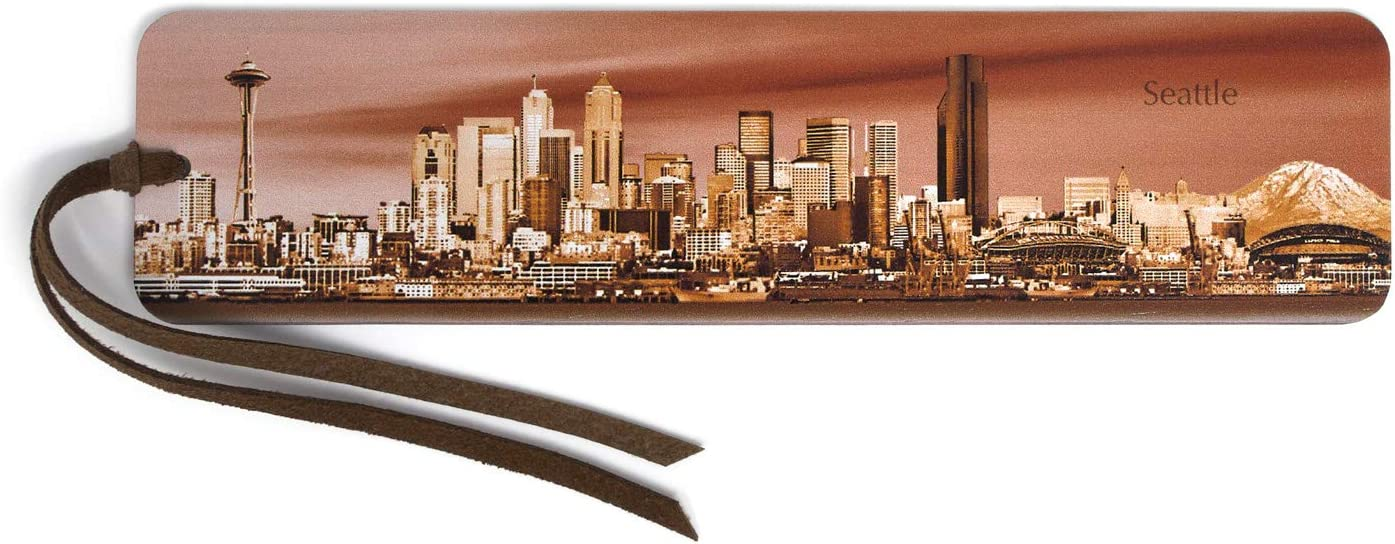 Seattle Panoramic shopping Skyline - Color Suede Tulsa Mall Tas with Wooden Bookmark
