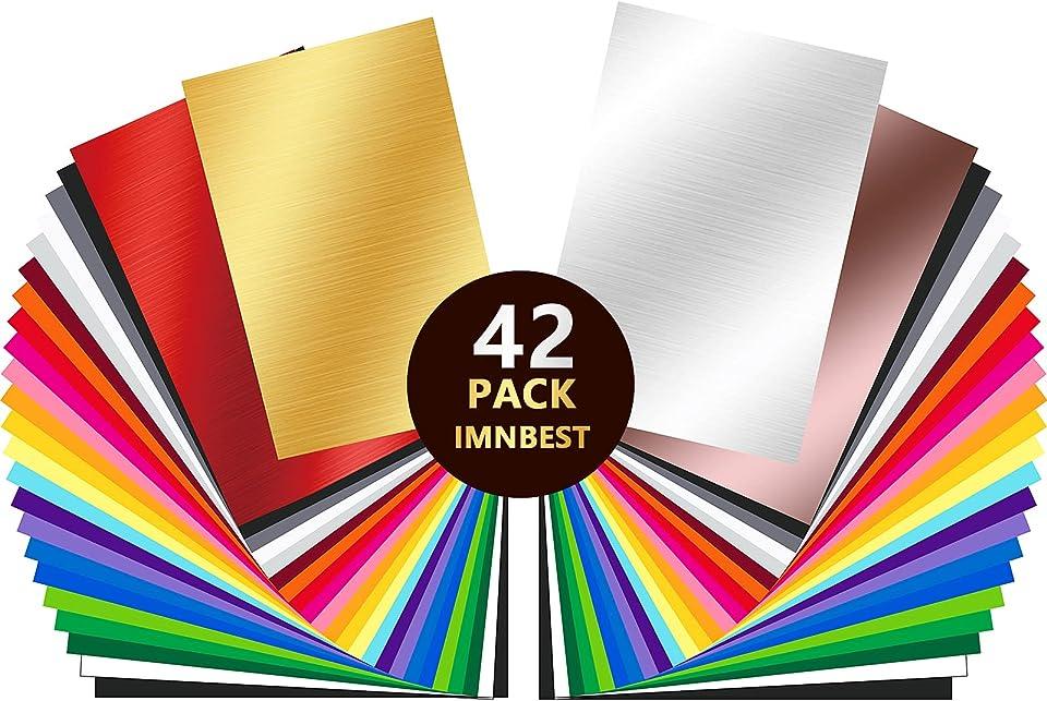Vinylfolien-42 Plotterfolie mit permanentem Klebefolien, 42 Selbstklebende Vinylfolie -30.5 * 20.5 cm für 24 verschiedene Farbfolien für Cricut,Abziehbilder,