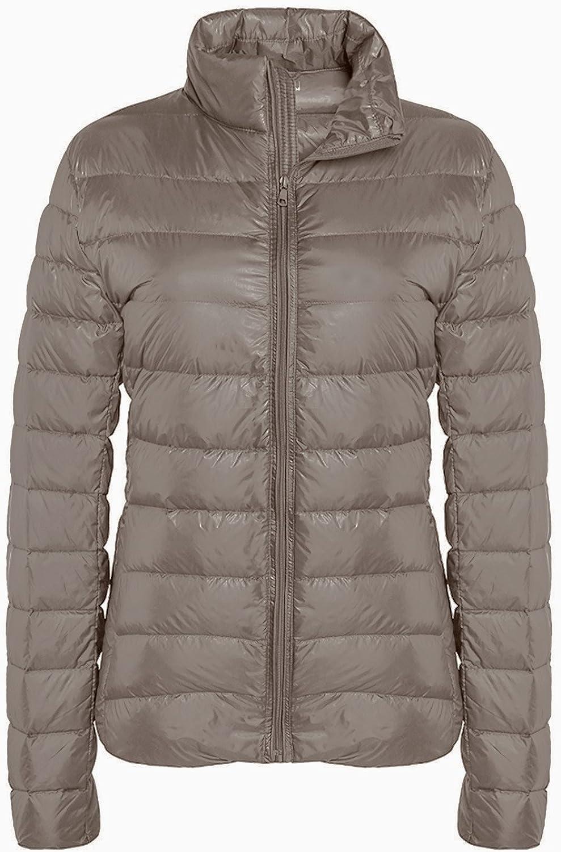 ZSHOW Women's Lightweight Packable Down Jacket Outwear Puffer Down Coats Beige