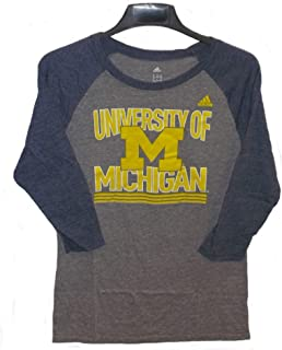 adidas Michigan Wolverines Raglan Sleeve Womens Tee Shirt - XL