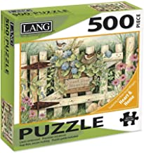 """LANG - 500 Piece Puzzle -""""Garden Gate"""", Artwork by Susan Winget - Linen Finish - 24"""" x 18"""" Completed"""