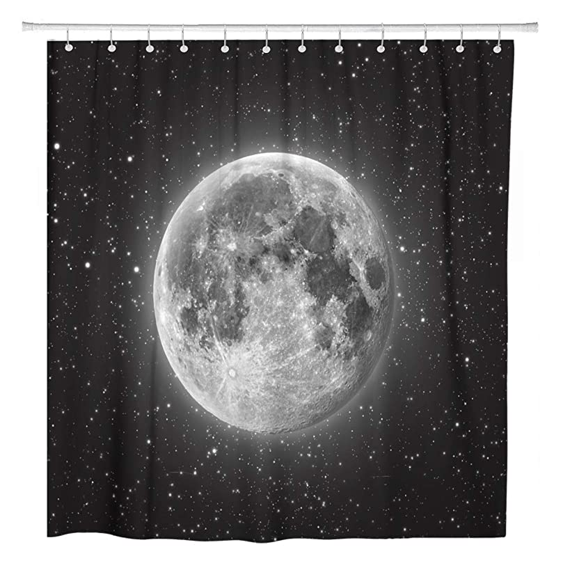 ArtSocket Shower Curtain Space Full Moon Stars in The Universe Astronomy Earth Home Bathroom Decor Polyester Fabric Waterproof 72 x 72 Inches Set with Hooks