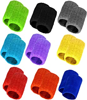 obmwang 9 Pairs Wrist Sweatbands Sports Wristbands Colorful Cotton Sweat Band for Men, Women and Teens, Suitable for Gym, ...