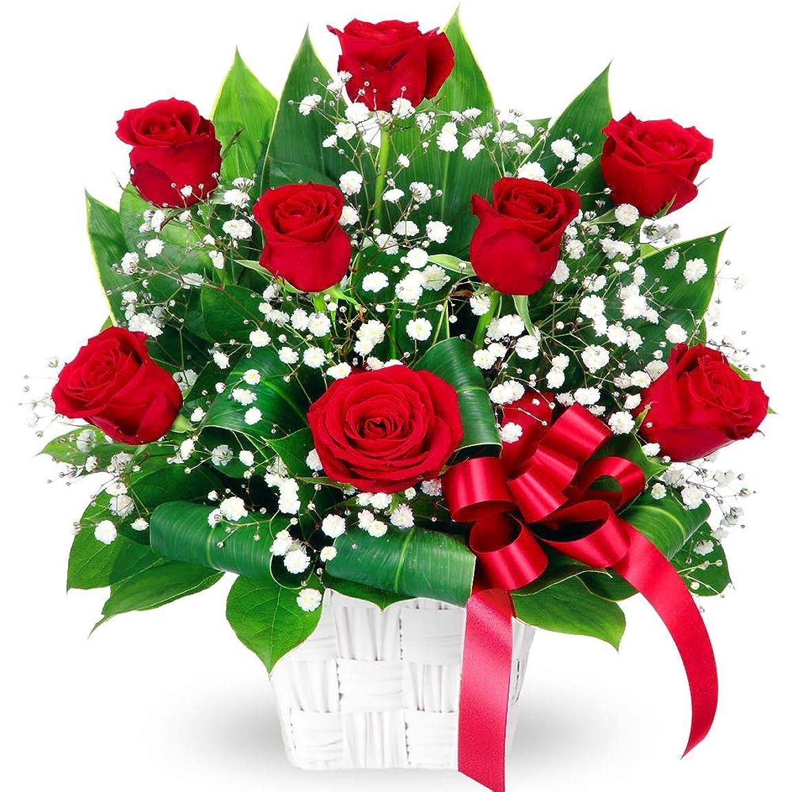 ピニオン敵ダイエット【結婚祝】赤バラのリボンアレンジメント yd00-511764 花キューピット 花 ギフト お祝い 記念日 プレゼント 生花 祝花 妻 夫 ブライダル 誕生日 感謝 お礼