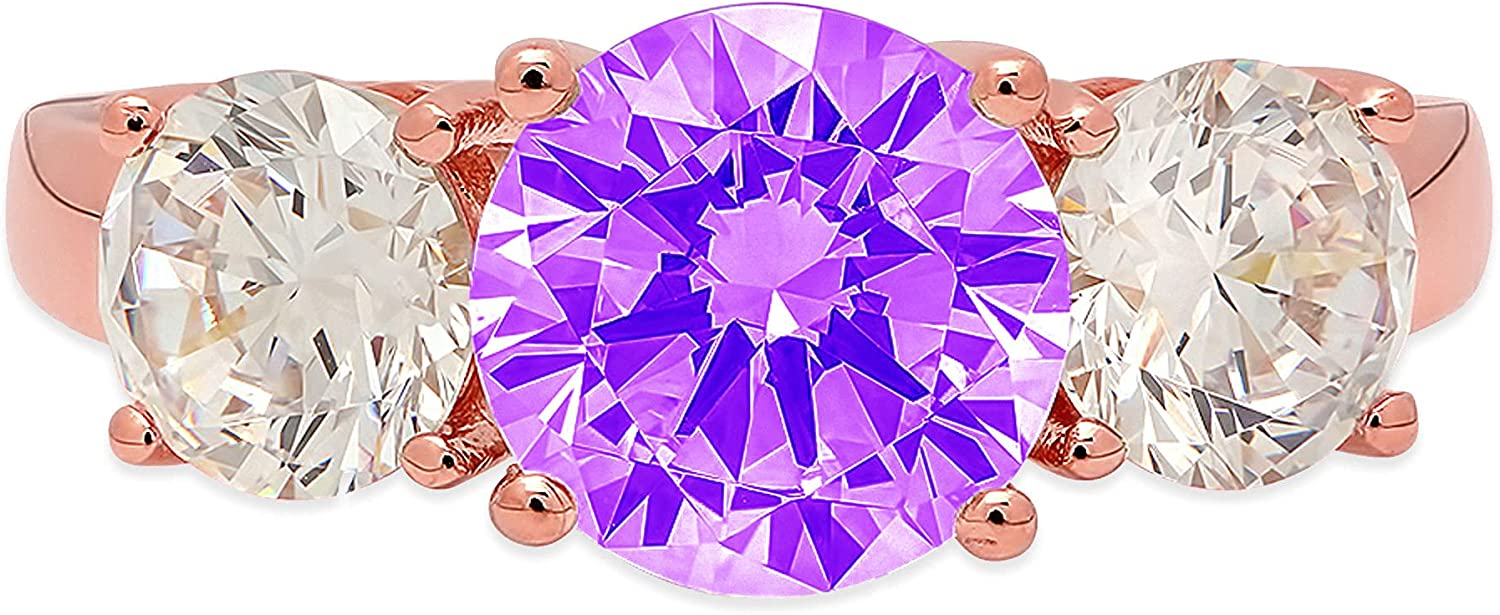 3.19ct Brilliant Round Cut Solitaire 3 stone Natural Purple Amethyst Gem Stone Ideal VVS1 Engagement Promise Statement Anniversary Bridal Wedding ring Real Solid 14k Pink Rose Gold