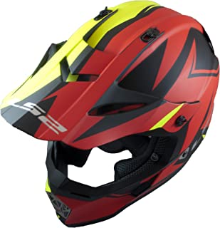 LS2 Helmets Motorcycle & Powersports Helmet's Off-Road Fast V2 (Two Face Matte Red HiViz,  X-Large)