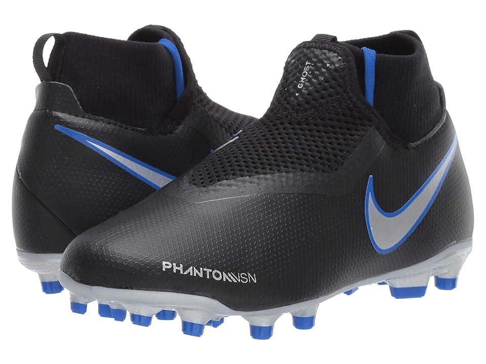 Nike Kids JR Phantom Vision Academy DF FG/MG Soccer (Little Kid/Big Kid) (Black/Metallic Silver/Racer Blue) Kids Shoes