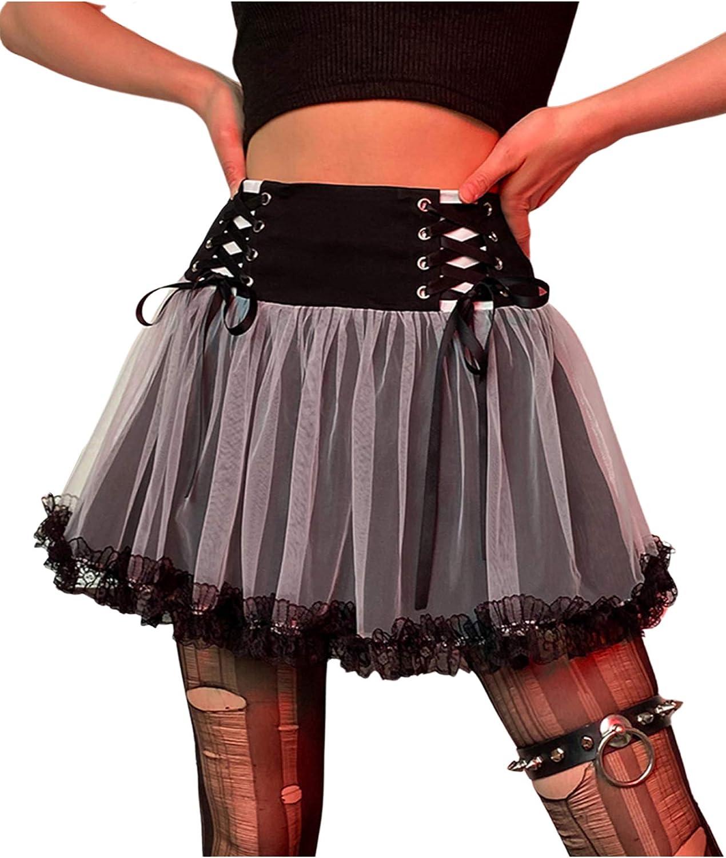 Shuyun Women's Lace Patchwork Mini Pleated Skirts High Waist Lace Up Ruffle Short Skirts Mesh Stitching Hem Plaid Skirt Dress