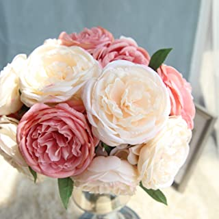 TRvancat Artificial Peonies Silk Flowers - Peony Bouquet 5 Heads Fake Flowers for Wedding Home Decoration (Pink)