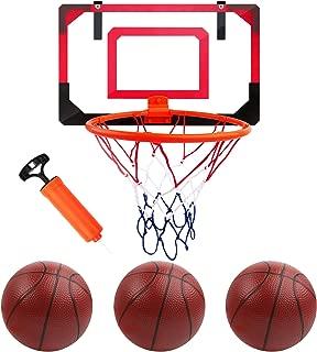 Basketball Hoop Toy Set with 3 Balls,Basketball Game Over The Door Basketball Mini Basketball Hoop Set for Basketball Lovers Boys Girls Indoor Outdoor (Transparent Frame)