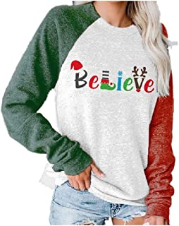 HEFASDM Womens Letters Printed Long Sleeve Christmas Sweatshirts T-Shirt Top