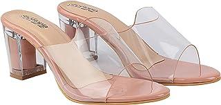 Do Bhai Women Stylish Transparent Upper Block Heels Sandals