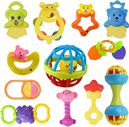wishkey colorful non toxic bpa free 9 rattles and 3 teethers toys set for babies ,infants- Multi color