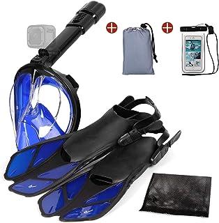 Odoland 5-in-1 Snorkeling Packages, Full Face Snorkel Mask with Adjustable Swim Fins, Lightweight Backpack and Waterproof Case, Anti-Fog Anti-Leak Snorkeling Masks Gear for Men Women