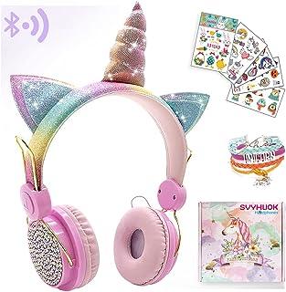 Unicornio - Auriculares Bluetooth para niñas, niños y adolescentes, auriculares inalámbricos de gato para teléfonos inteligentes/tableta/portátil/PC/TV, con micrófono y diadema ajustable, caja sorpresa es ideal para cumpleaños y Navidad.