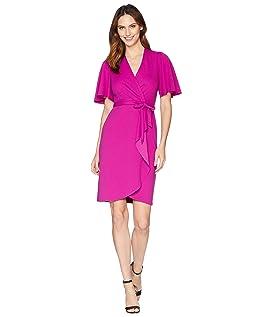 Faux Wrap Kimono Sleeve Crepe Dress