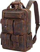 Polare Cowhide Leather Multiple Laptop Backpack Day pack Travel Bag Stachel with 1 Year Warranty