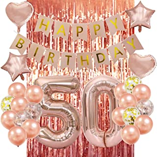 Rose Gold 50th Birthday Decorations-Happy 50th Birthday Decorations 50 Party Decorations for Women Men