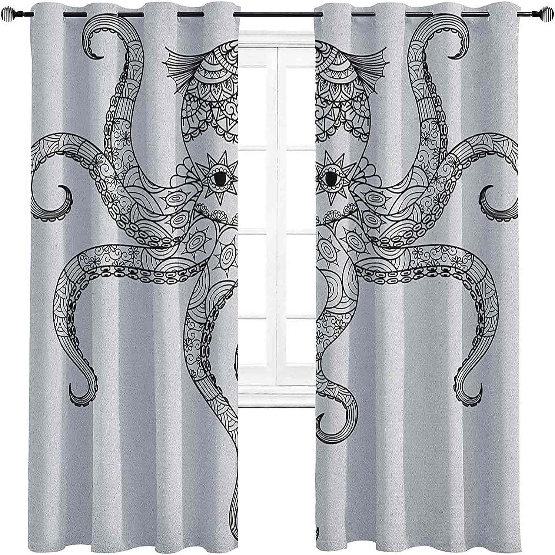 Octopus Room Import Darkened Insulation Choice Curtain Grommet Doodle