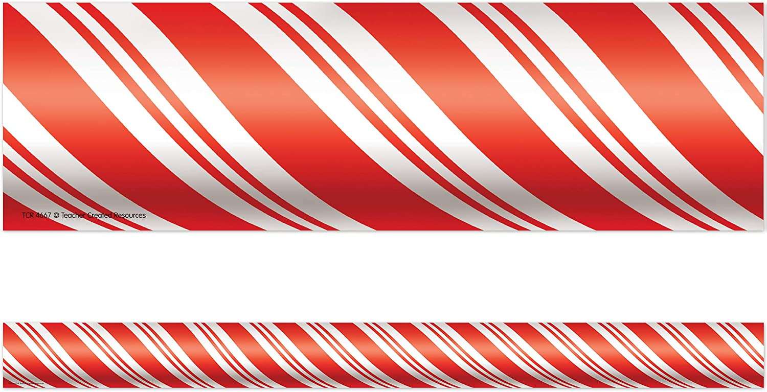 Teacher Created Ranking TOP14 Gorgeous Resources Candy Cane W Trim Red Straight Border
