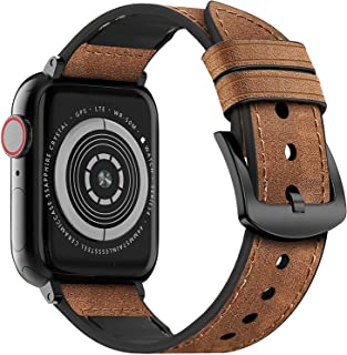 MARGE PLUS Compatible Apple Watch Band 44mm 42mm 40mm 38mm, Sweatproof Hybrid Genuine Leather and Silicone Sports Watch Ba...