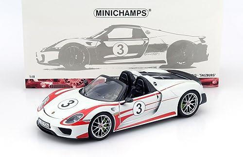 MINICHAMPS 1 18 2013 PORSCHE 918 SPYDER - WeißSACH PACKAGE SALZBURG Diecast Car