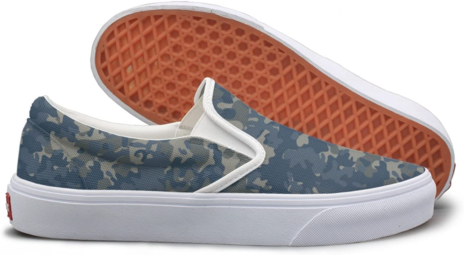 SEERTED bluee Camouflage Top Sneakers for Women