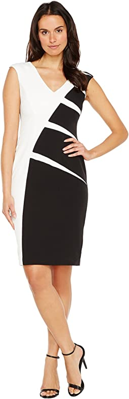 Stripe Crepe Color Blocked Sheath Dress