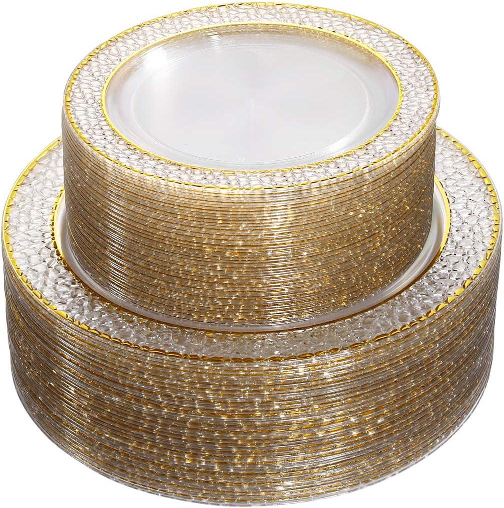 Nervure 102PCS Gold Plastic Plates Design Crystal San Jose Mall Boston Mall Clear Dispos -